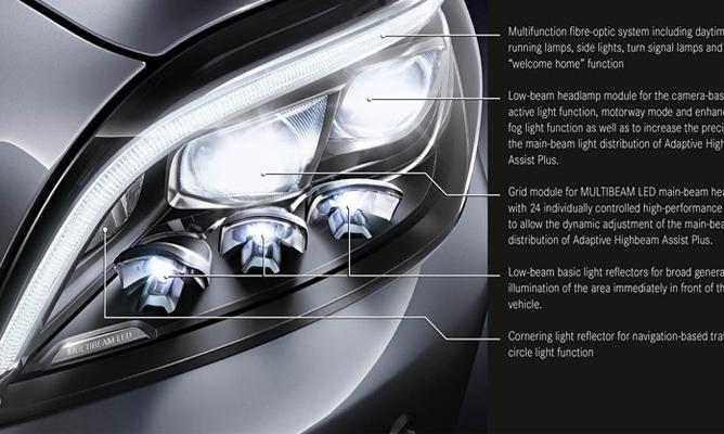 Mercedes e class world debut at detroit motor show for Mercedes benz lighting